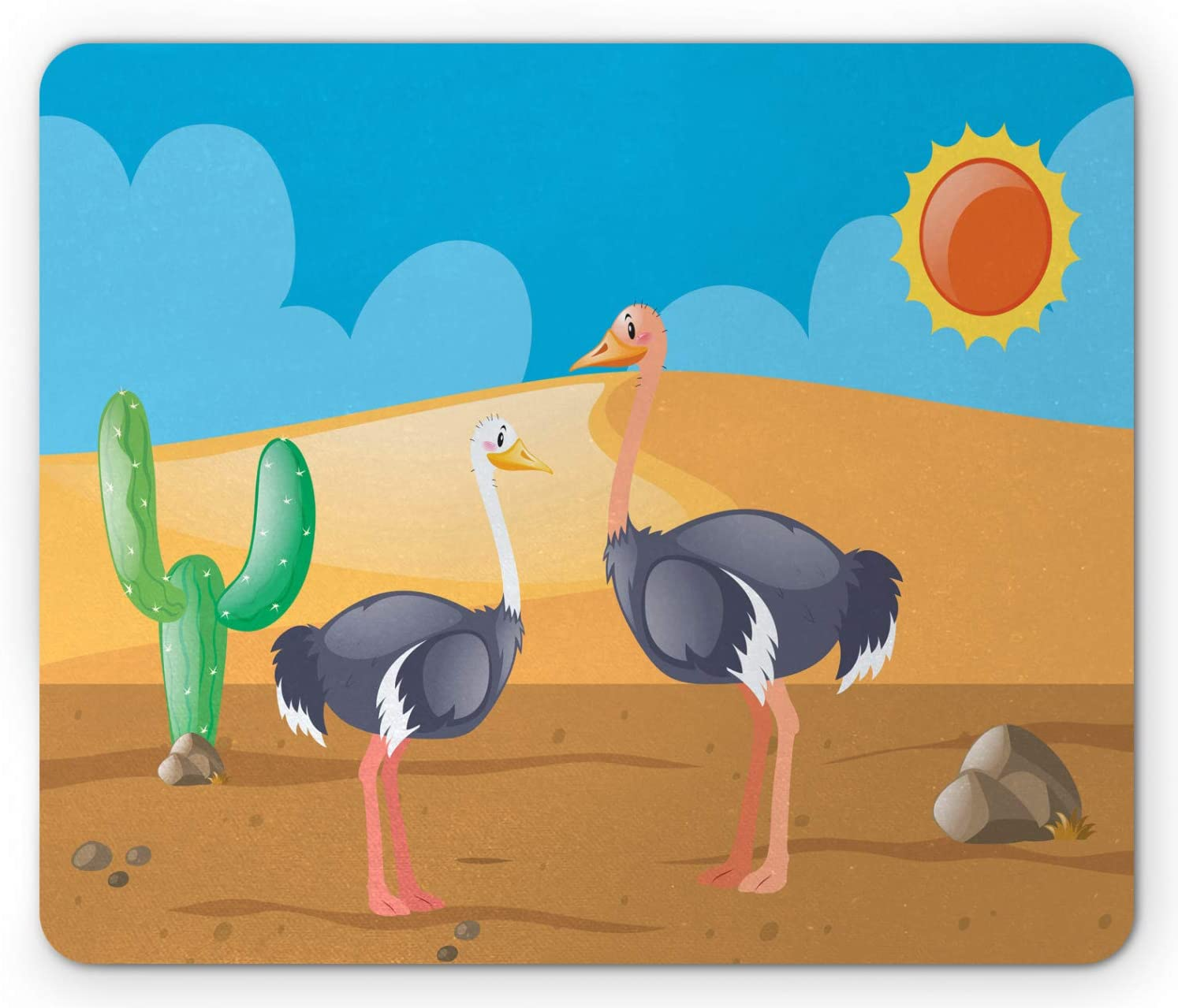 Ambesonne Ostrich Mouse Pad, Wild Birds on Desert with Cactus in a Sunny Day Childish Kids Zoo Camel Cartoon, Rectangle Non-Slip Rubber Mousepad, Standard Size, Multicolor