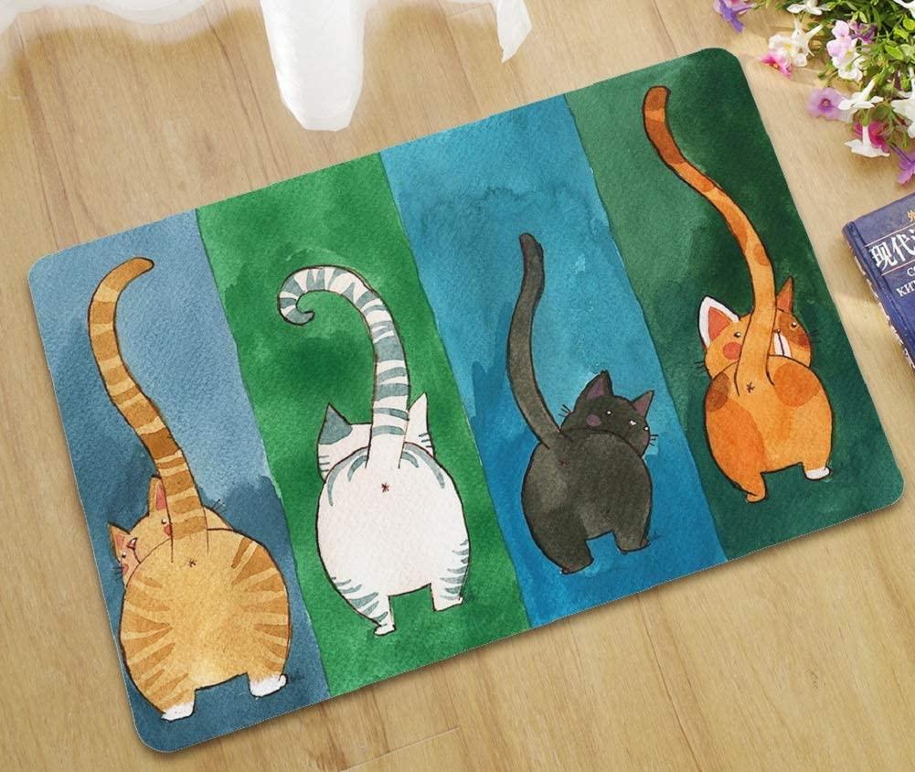 ChezMax Cats Non-Slip Doormat Coral Fleece Indoor Outdoor Kitchen Floor Rug Front Door Mat Funny Flannel Carpet 17 X 30 Inches