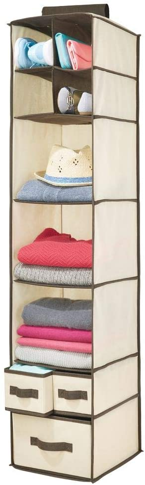 mDesign Soft Fabric Over Closet Rod Hanging Storage Organizer with 7 Shelves and 3 Removable Drawers for Clothes, Leggings, Lingerie, T Shirts - Cream/Espresso Brown