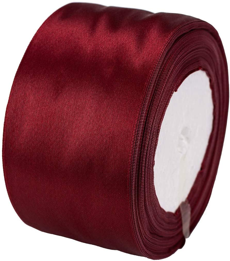 ATRBB 25 Yards 2 inches Wide Satin Ribbon Perfect for Wedding,Handmade Bows and Gift Wrapping (Wine red)