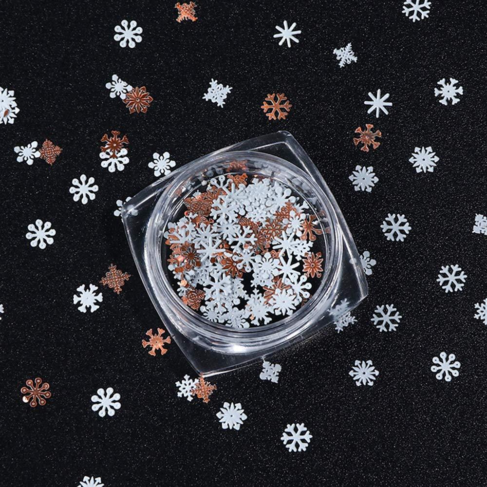Christmas Nail Art Sequins Glitter Decoration 3D Snowflake Nail Art Flakes Colorful Confetti Nails Glitter for Xmas Party Fingernail Toenail Manicure Nail Art Design