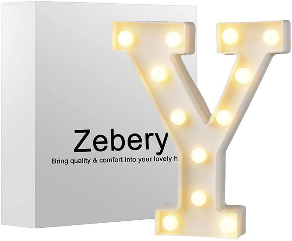 Zebery Led Letters Lights Alphabet Warm White LED Letter Light Up Alphabet Letter Lights for Bachelorette Party Wedding Receptions Holiday Home & Bath Bridal Bar Décor Y