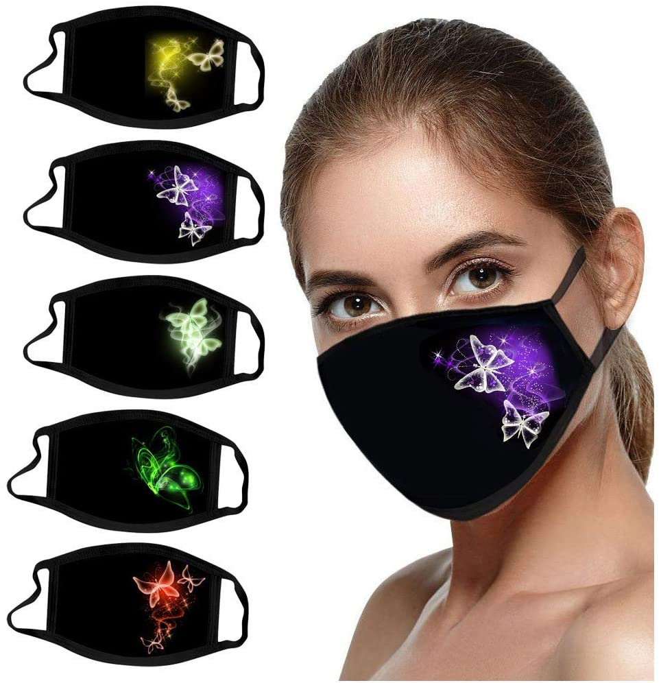 Adults Fashion Cotton Butterfly Face_Mask Washable Reusable, Breathable and Comfortable Print Face Health Protection Dust-proof Covering for Men and Women (5PCS, P)