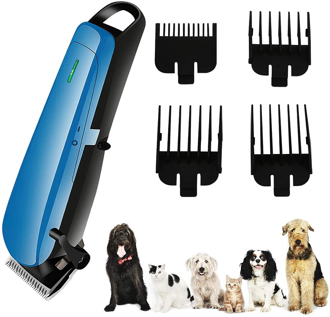 Ruiqas Professional Pet Hair Clipper, Cordless Hair Trimmer USB Rechargeable Dogs Cats Electric Hair Clipper Shaver Grooming Tool