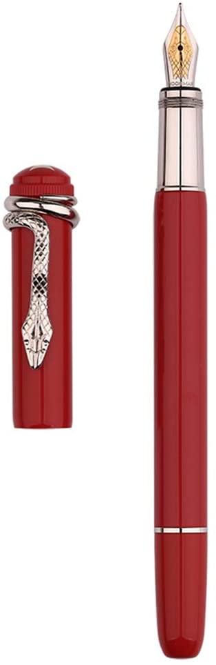 Hongwen Fountain Pen - Fine Nib Moonman F9 Metal Pen Smooth Snake Spider Pattern Design Student Ink Absorbing Gifts
