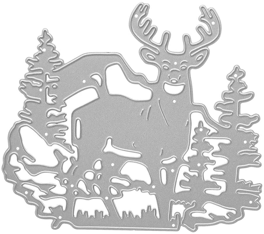 Metal Christmas Elk Forest Cutting Dies, Wapiti Forest Die Cuts Embossing Stencils Template Mould for Card Scrapbooking and DIY Craft