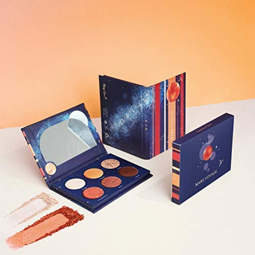 Mars Voyage Pocket-Sized Mini Eyeshadow Palette with 6 Highly Pigmented Matte, Frost, and Shimmer Eyeshadows by Ready to Shine