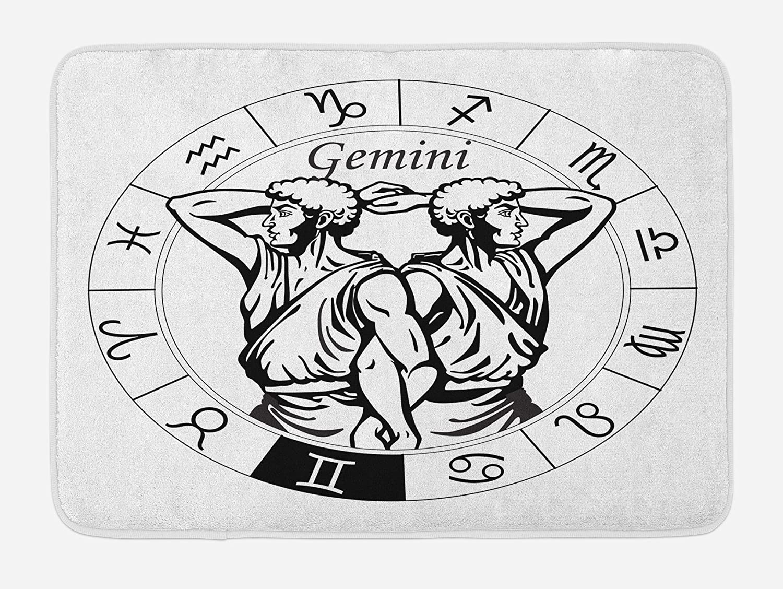 Ambesonne Zodiac Gemini Bath Mat, Monochrome Zodiac Wheel and Male Twins in Greek Style Clothes, Plush Bathroom Decor Mat with Non Slip Backing, 29.5