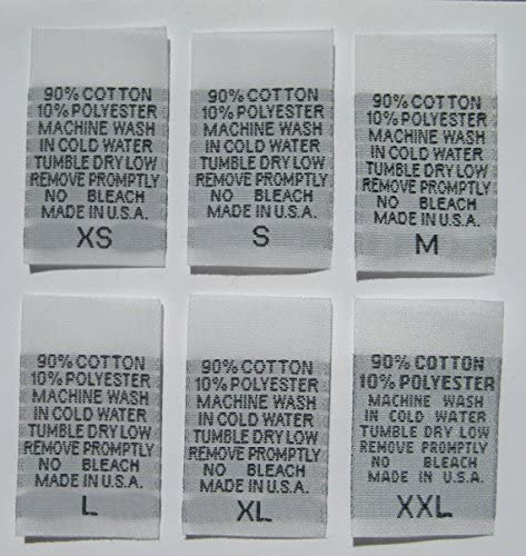 250 pcs White Woven Clothing Sewing Garment Care Label Tags - 90% Cotton 10% Polyester - XS, S, M, L, XL, XXL (42 pcs Each)