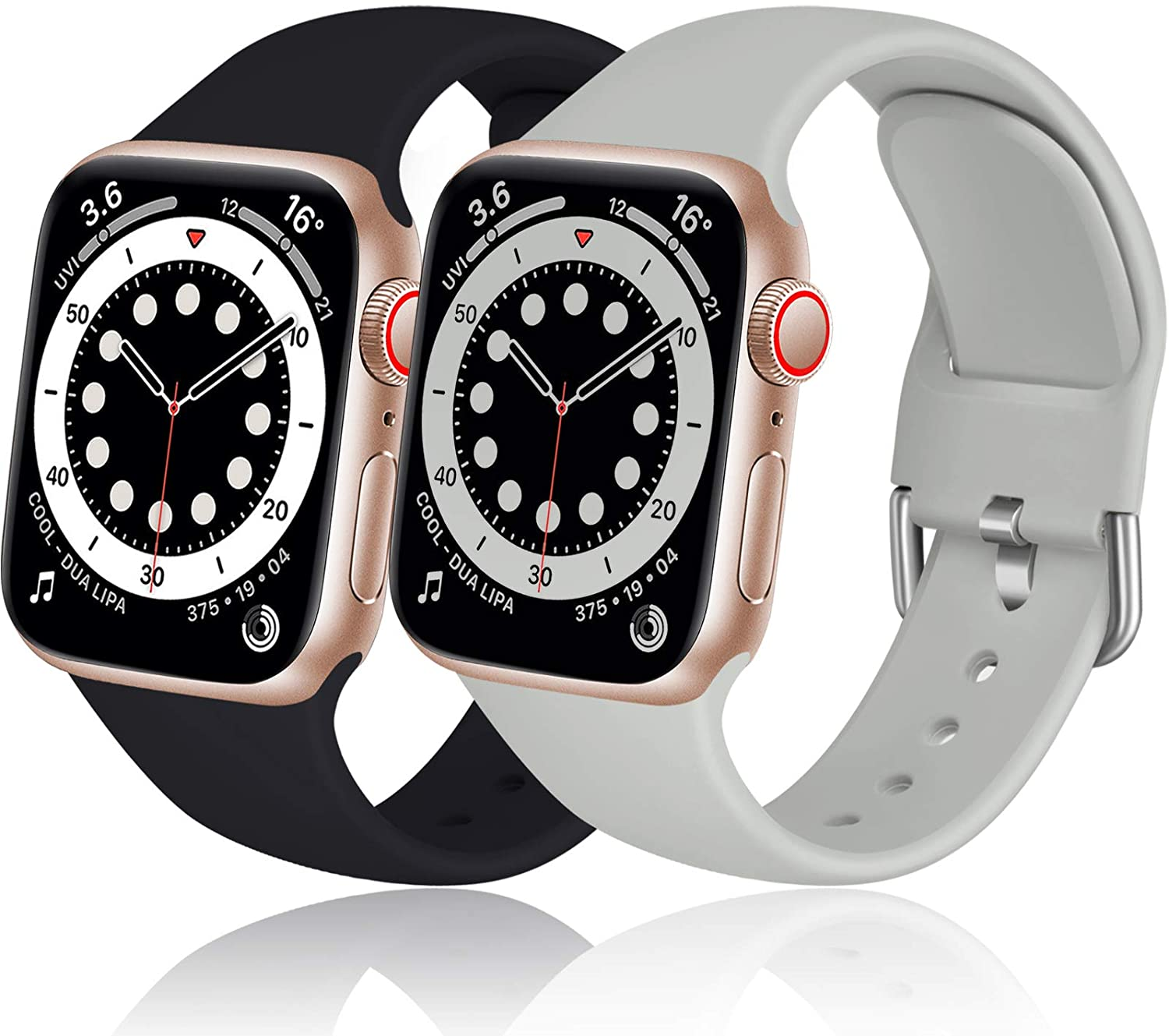 Dirrelo Compatible for Apple Watch Bands Strap 40mm 38mm Series SE 6 5 4 3 2 1, Thin Silicone Replacement Sport Wrist Band for iwatch Band Women Men, Large Black & Gray 2-Pack