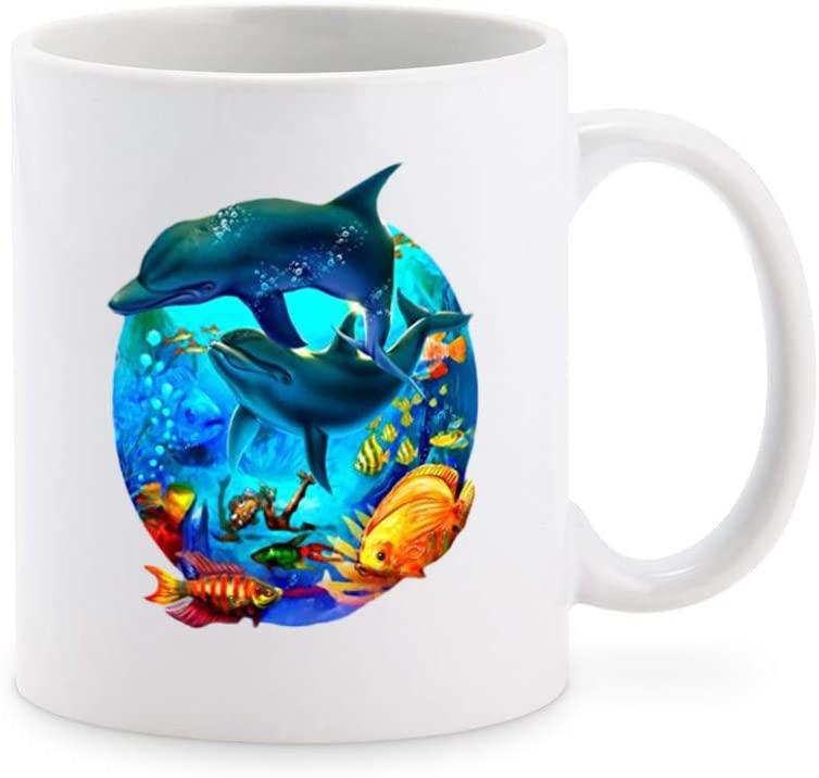 Dolphins Jumping Coffee Mug Tea Cup Novelty Gift Mugs 11 oz