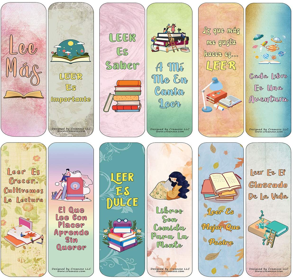 Creanoso Spanish Puntos de Libro Marcapáginas Bookmarks Cards (60-Pack) - Premium Quality Gift Ideas for Children, Teens, Adults for All Occasions - Stocking Stuffers Party Favor & Giveaways