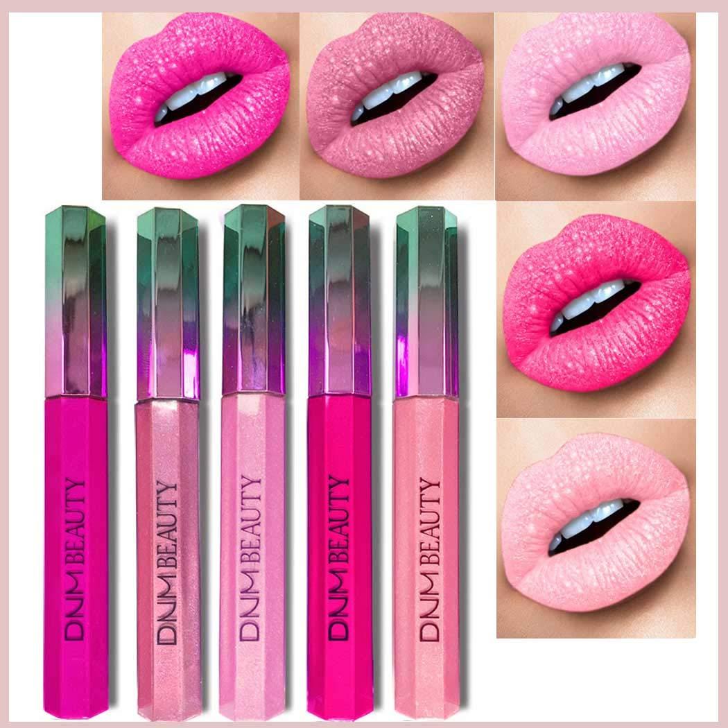Kisshine Matte Liquid Lipsticks Pink Gothic Glitter Lipsgloss Halloween Shinning Lip Glaze Shimmer Metallic Lip Glaze Cosmetics Makeup Set for Women and Girls (Pink 09#)