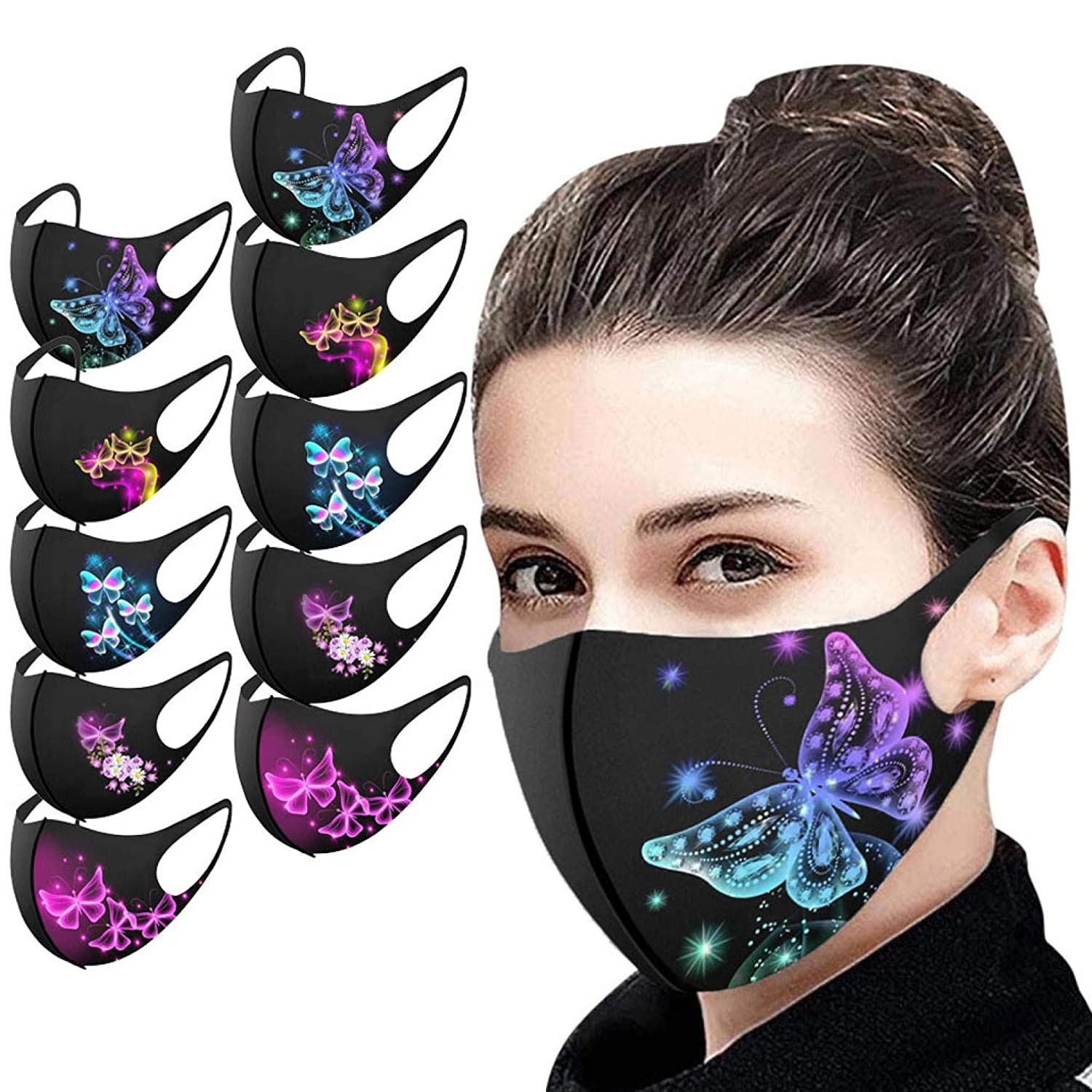 【USA In Stock 】10PCS Adults Butterfly Print Face Bandana_Covering_MASK Ice Silk Face Protective for Women and Men, Fashion Neutral Turban Washable Reusable Anti-Haze Dustproof Face Fabric For Cycling Camp