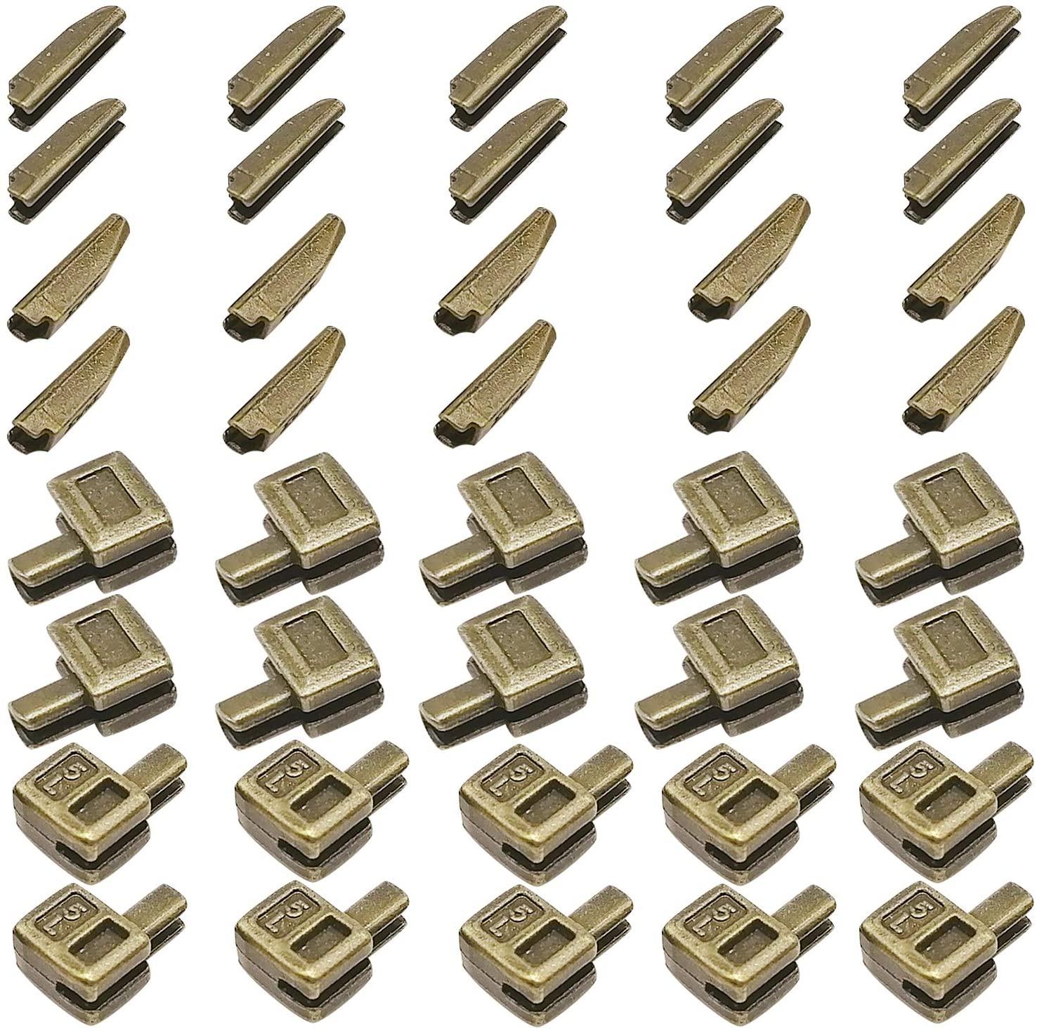 20 Sets Size 5 Metal Zipper Latch Slider Retainer Insertion Pin Zipper Bottom Zipper Stopper for Metal Zipper Repair (Bronze)