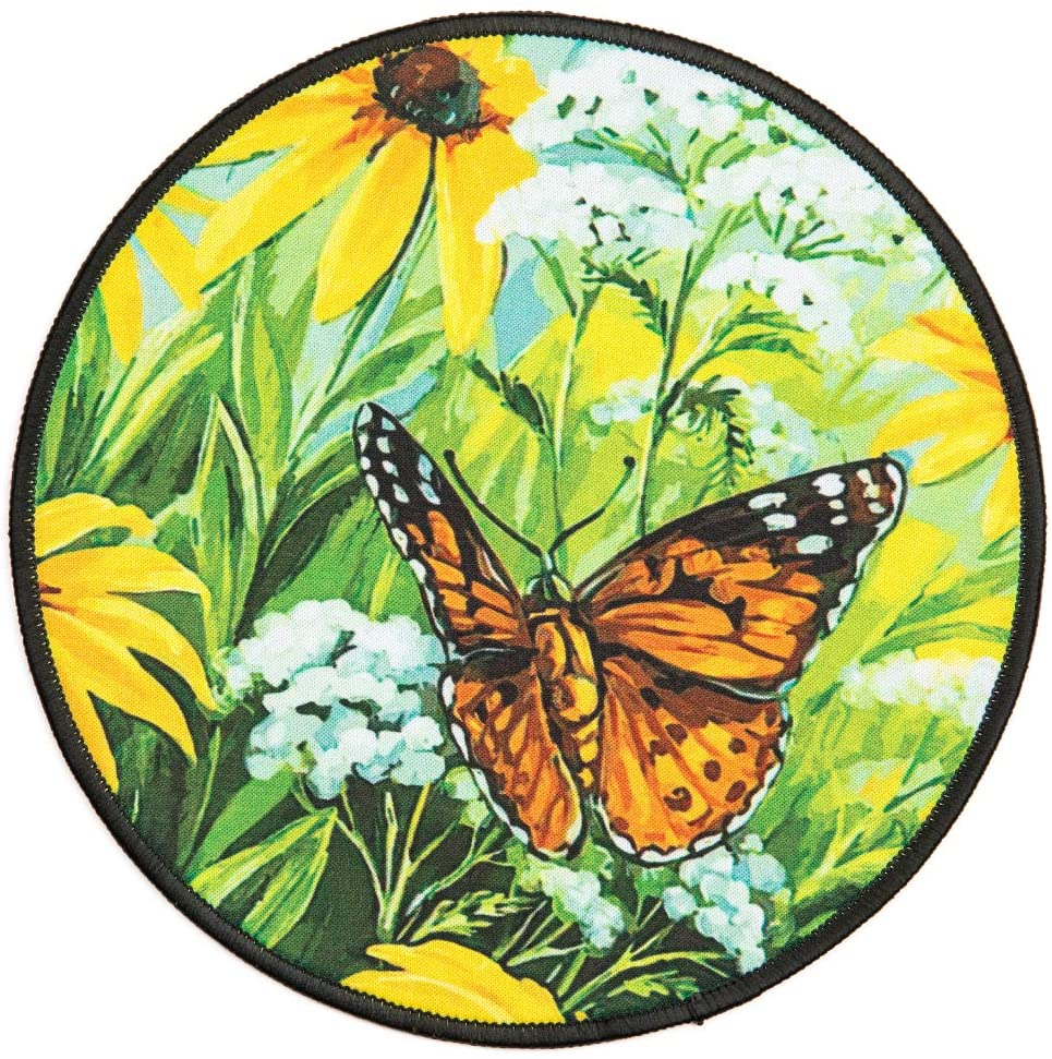 Art Butterfly Sunflower Round Mouse Pad,Animal Flower Personalized Printed Mouse Mat, Non-Slip Rubber Base Mousepad for Laptop, Computer 7.9x7.9 Inches