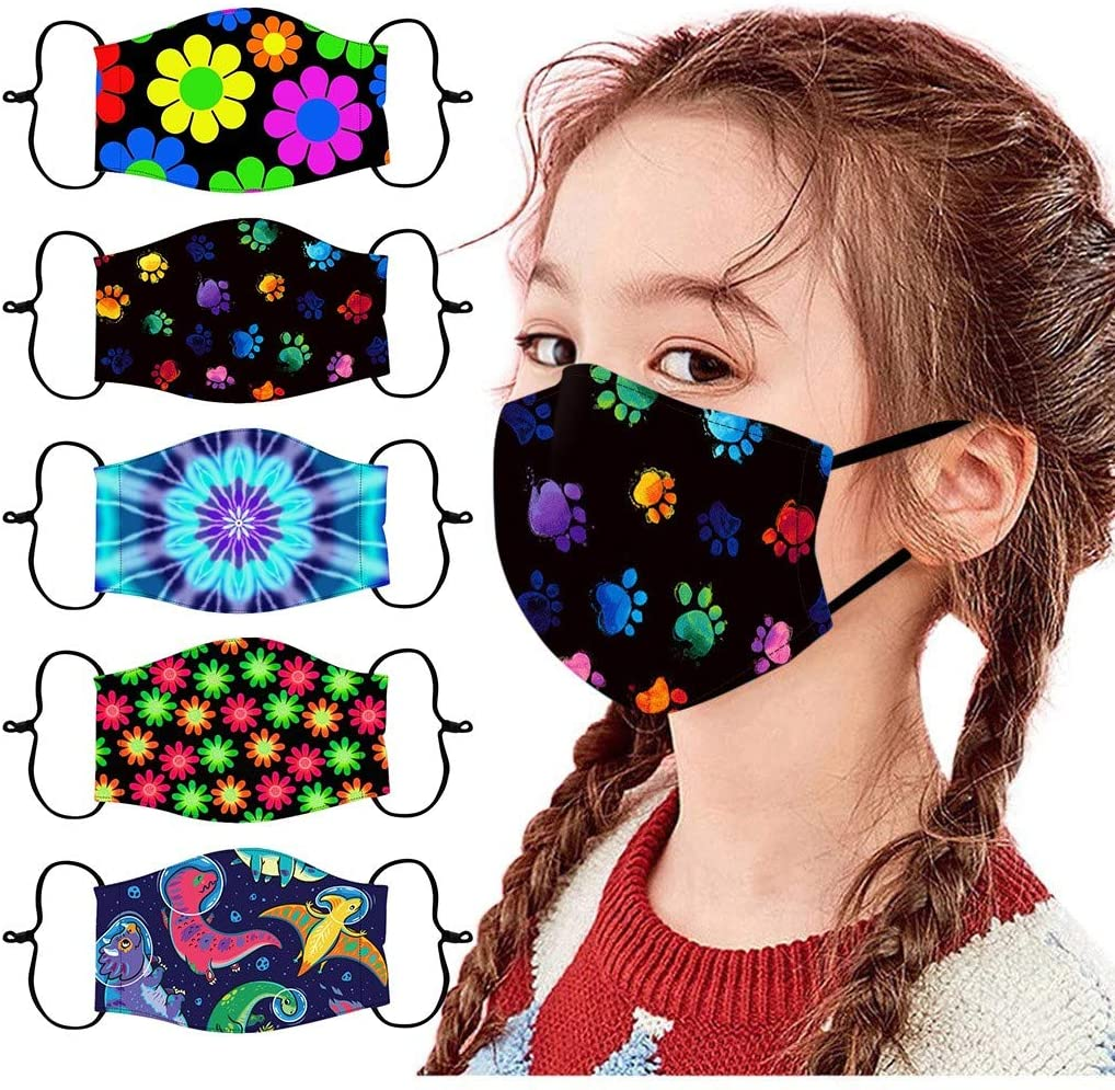 5pcs Kids Reusable and Breathable Mouth Msaks, Washable Children Outdoor Cotton Covering, Various Patterns Face Bandanas for Boys and Girls, Can Put Filter (Multicolor Combo F)