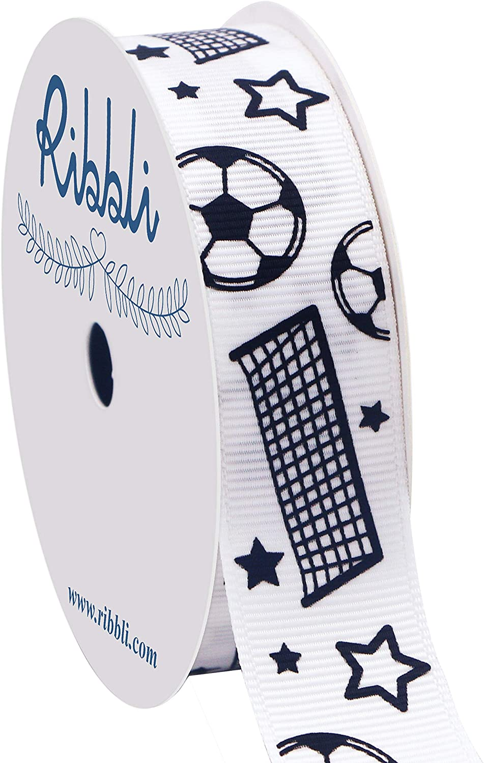 Ribbli Grosgrain Soccer Craft Ribbon,7/8-Inch,10-Yard Spool, White/Black, Use for Team Hair Bows,Wreath,Sport Lanyards,Gift Wrapping,Party Decoration,All Crafting and Sewing