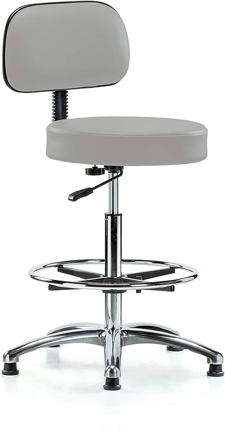 Perch Chrome Walter Exam Stool with Backrest Support and Foot Ring, Stationary Caps, Counter Height, Grey Vinyl