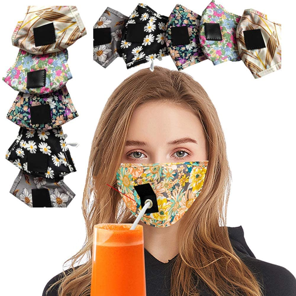 10 Pcs Drinking Ma$k Face-Covering with Hole for Straw Face-Shiled and Flower Printed For Women and Man,Child