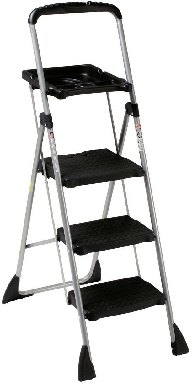 Max Work Steel Platform Step Stool, 22w x 3d x 61h, Black