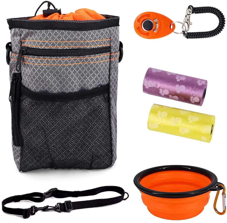 Qulable Dog Treat Training Pouch, –Easily Carries Pet Toys, Treat Training Bag for Treats, Pet Treats Tote Bag, Pet Toys, Shoulder Strap, Poop Bag Dispenser – 3 Ways to Wear