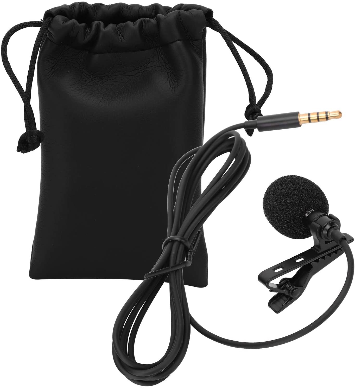 Acouto Lavalier Microphone, Mini Wired Lavalier Lapel Microphone Collar Clip Mic for Mobile Phone Video Recording