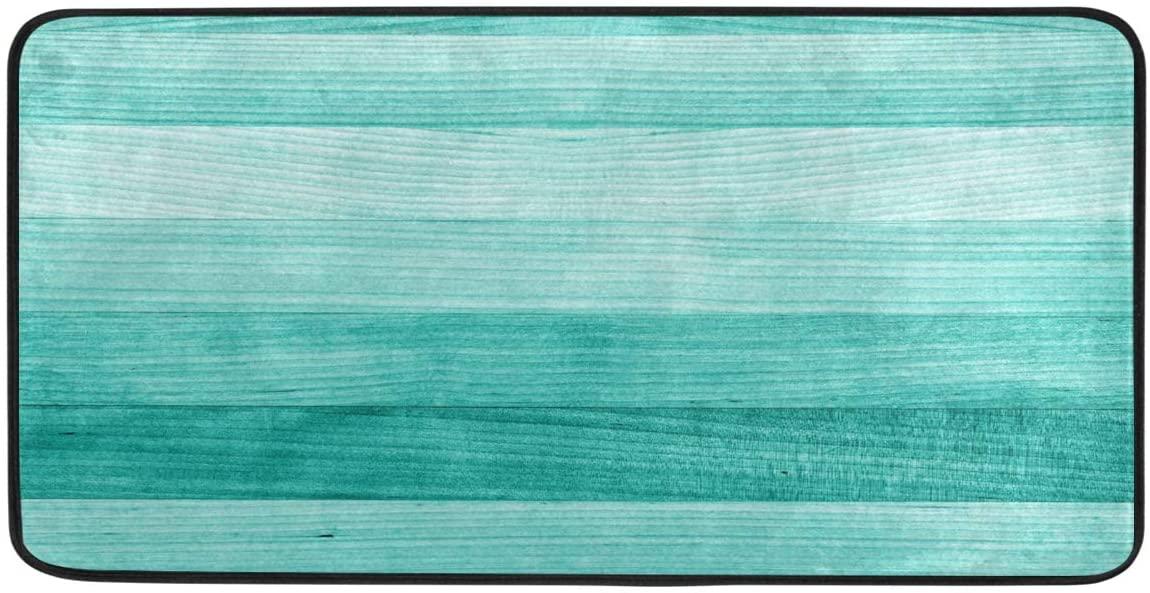 STAYTOP Vintage Teal Mint Green Wood Texture Kitchen Rugs Kitchen Mats Polyester Non Slip Washable Cushioned Mats Antifatigue Comfort Floor Mat Doormat for Kitchen Washroom Bedroom 39 x 20 inch
