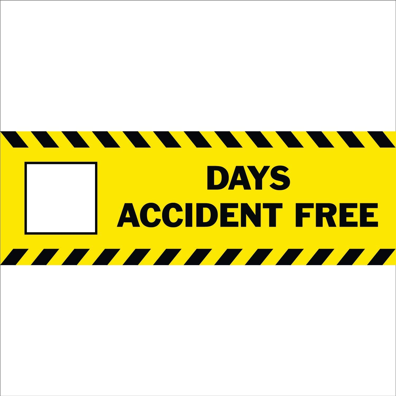 HALF PRICE BANNERS |Blank Days Accident Free Vinyl Banner-Indoor/Outdoor 2X6 Foot-Yellow| Includes Zip Ties|Easy Hang Sign-Made in USA