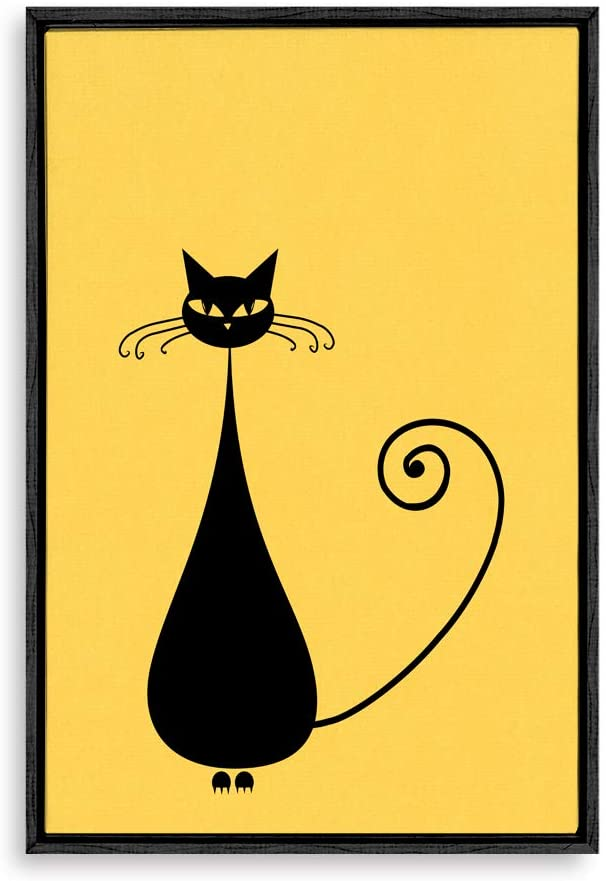 wall26 Framed Canvas Wall Art for Living Room, Bedroom Cat Illustration XIII Canvas Prints for Home Decoration Ready to Hang - 16x24 inches