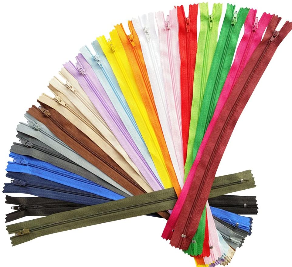 Chenkou Craft 40pcs Assorted 20 Colors Nylon Coil Zippers Tailer Sewing Tools Craft Total Length 49CM /19.30 (Zipper Net Length at 45CM /17.7) (Multi-Color) (45cm/17.70 inches)