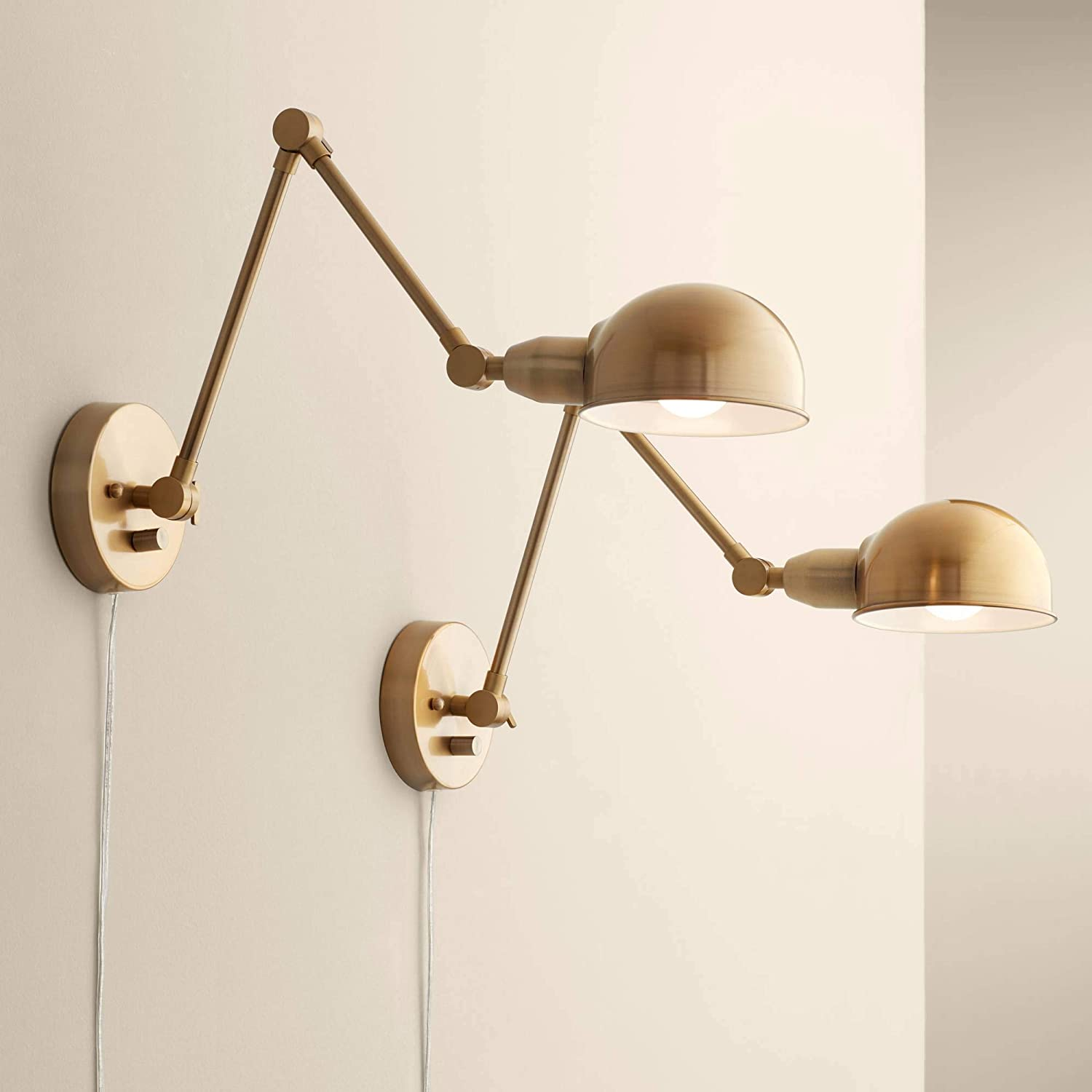 Somers Industrial Wall Lamps Set of 2 LED Antique Brass Plug-in Light Fixture Adjustable Up Down Half Dome Shades for Bedroom Bedside Living Room Reading - 360 Lighting