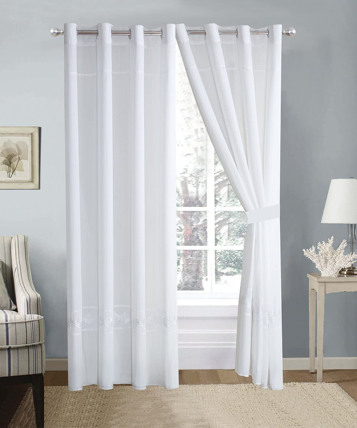 4 Piece White Double-Needle Stitch Pinch Pleat Grommet Window Curtain Set 108 x 84-inch, 2 Panels and 2 Ties