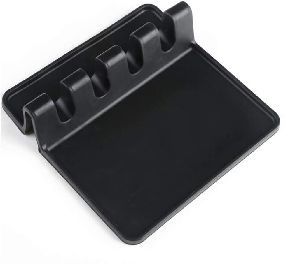 Silicone Utensil Rest Spoon Rest Spoon Holder Kitchen Utensil Ladle Rests Holder for Stove Top Spoon Spatula Pad Placemat Utensil Holder for Tongs(Black)