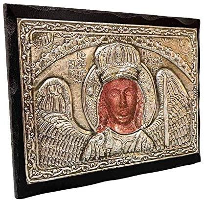 Handmade Greek Christian Orthodox Wood-Metallic icon of Archangel Michael of Mantamados (24 X 19cm or 9.4 X 7.5 in) Solid Wood