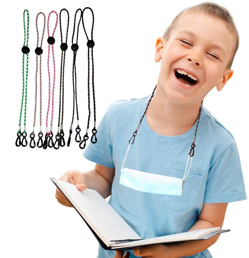6 Pack Face Mask Lanyard for Kids Adjustable Length Mask Lanyard with Clip Rest for Kids Ear Comfortable Around The Neck
