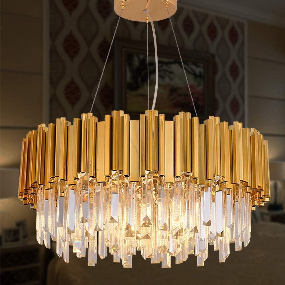 MEELIGHTING Gold Plated Luxury Modern Crystal Chandelier Lighting Contemporary Raindrop Chandeliers Pendant Ceiling Lights Fixture for Dining Room Living Room Hotel Bedroom W21.6