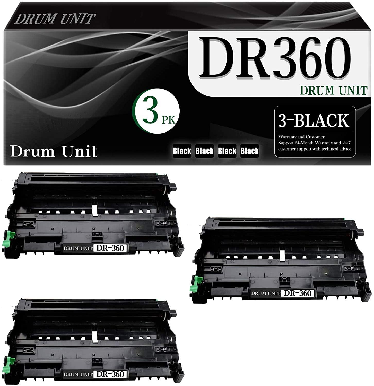 3-Pack DR360 DR-360 (Black) Compatible Drum Unit Replacement for Brother MFC-7340 MFC-7345DN MFC-7440 MFC-7440N MFC-7840 MFC-7840W DCP-7030 DCP-7040 HL-2140 HL-2150N HL-2170W Printer.