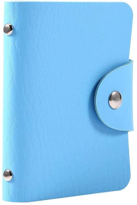 FTVOGUE Credit Card Holder Soft Leather ID Business Card Case Wallet 24 Card Slots (Blue)