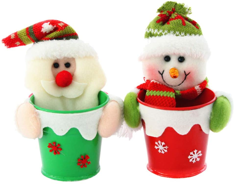 Amosfun 2Pcs Christmas Candy Jar Christmas Decoration Candy Jar Sugar Container Apple Storage Box for Christmas Ornament