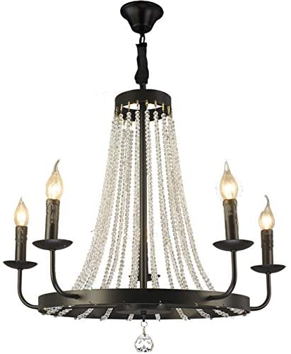 Rustic Vintage Chandeliers Candle Style Crystal Bead Strands Luxury Lamp 5-Light Glass Ceiling Lamp Island Light for Kitchen Farmhouse Living Room Bedroom