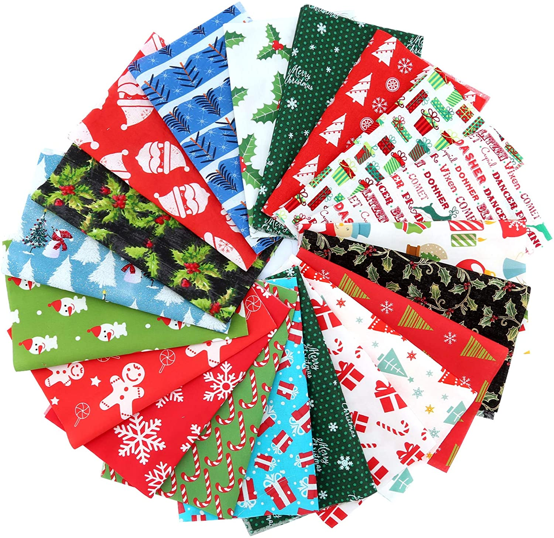 Multi-Color Precut Quilting Patchwork Fabric Scraps for DIY Christmas Sewing Craft Supplies SAVITA 20Pcs 8x10 Inch Christmas Cotton Fabric Bundles