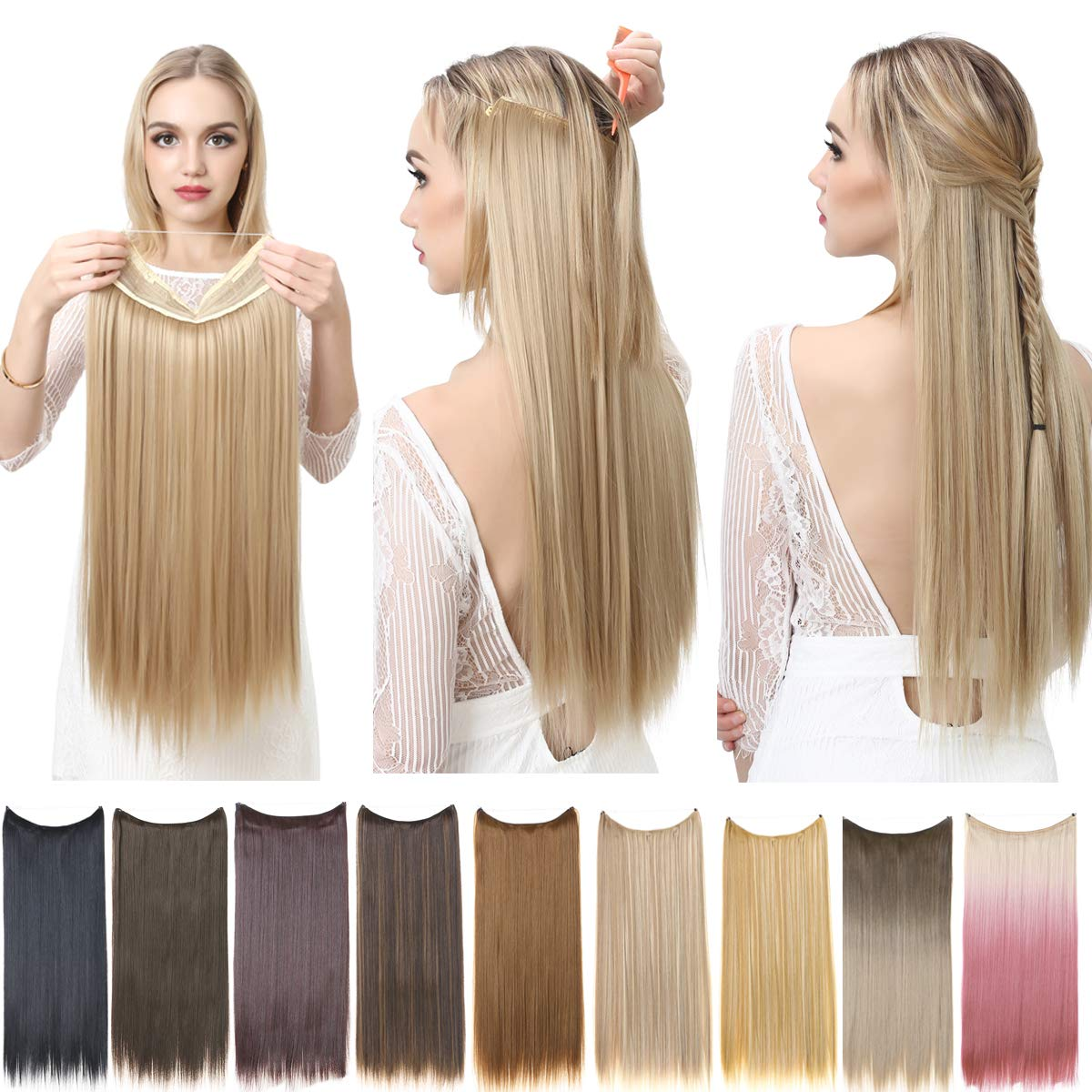 SARLA Ombre Halo Hair Extensions Straight Beach Blonde to Pink Long Synthetic Hairpieces 18 Inch 3.9 Oz Secret Wire Headband for Women Heat Resistant Fiber No Clip (M02-18&613TPink)