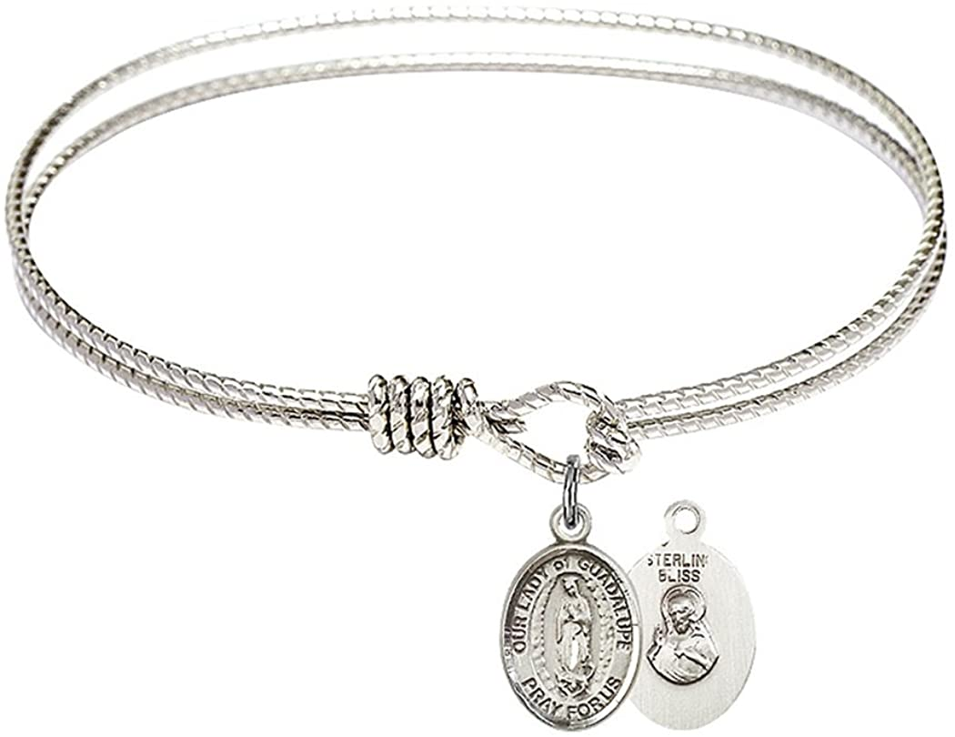 Rhodium Plate Textured Bangle Bracelet with Petite Our Lady of Guadalupe Petite Charm, 6 1/4 Inch
