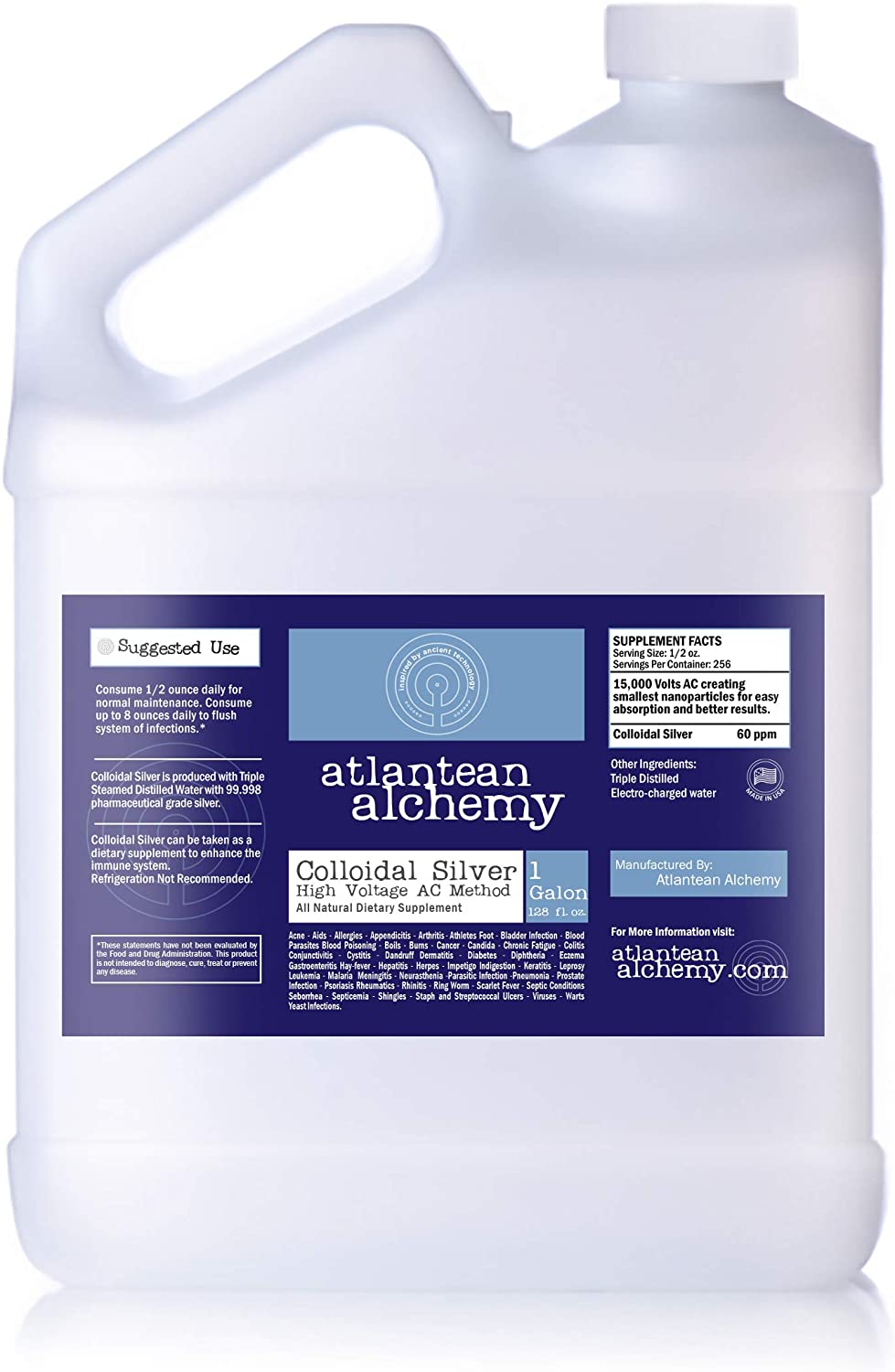 Colloidal Silver 60ppm 2 Gallons