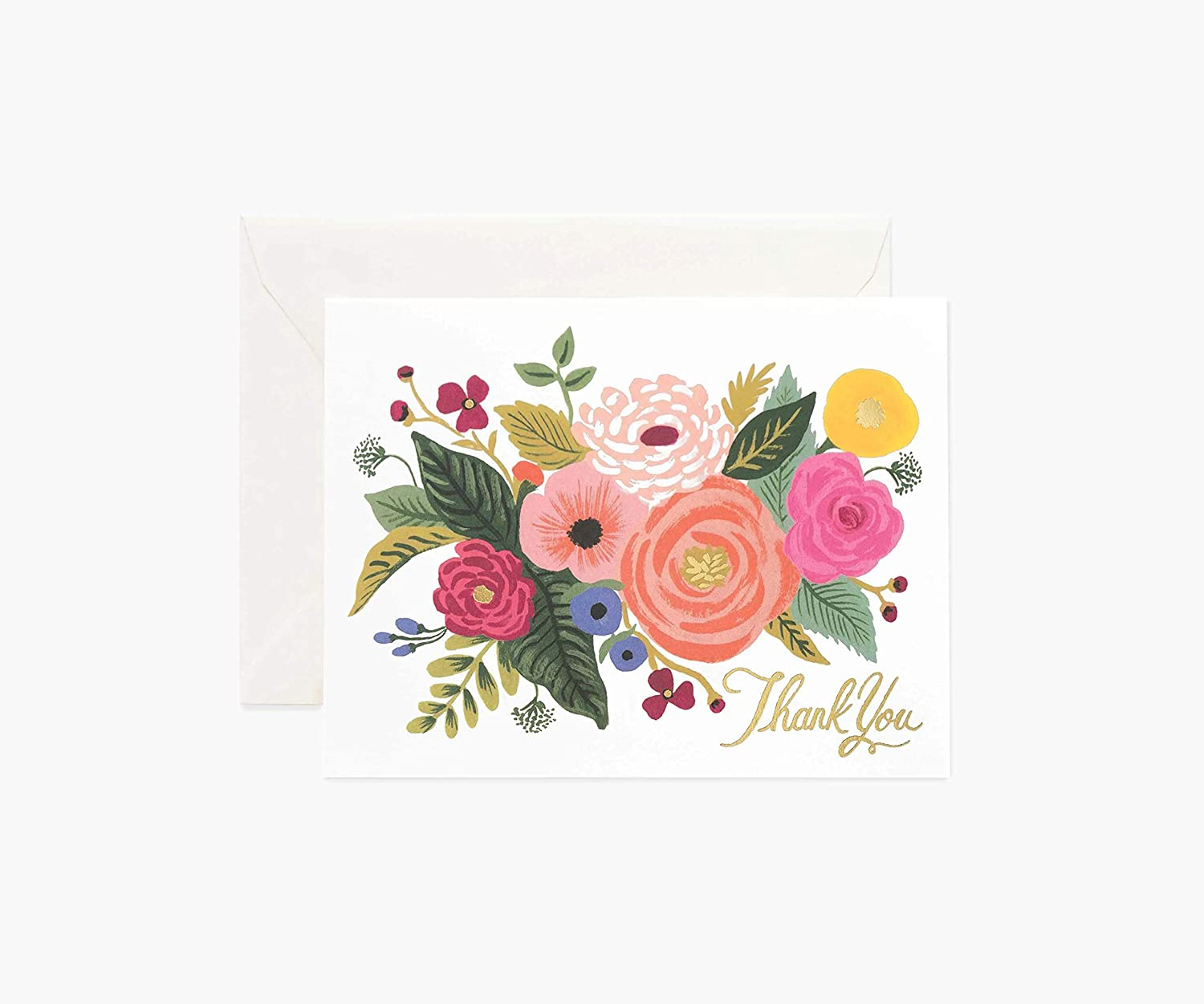 Rifle Paper Co. Juliet Rose Thank You Greeting Card Box Set, Blank Interior Lets Your Handwritten Note Take Center Stage, Boxed Set of 8