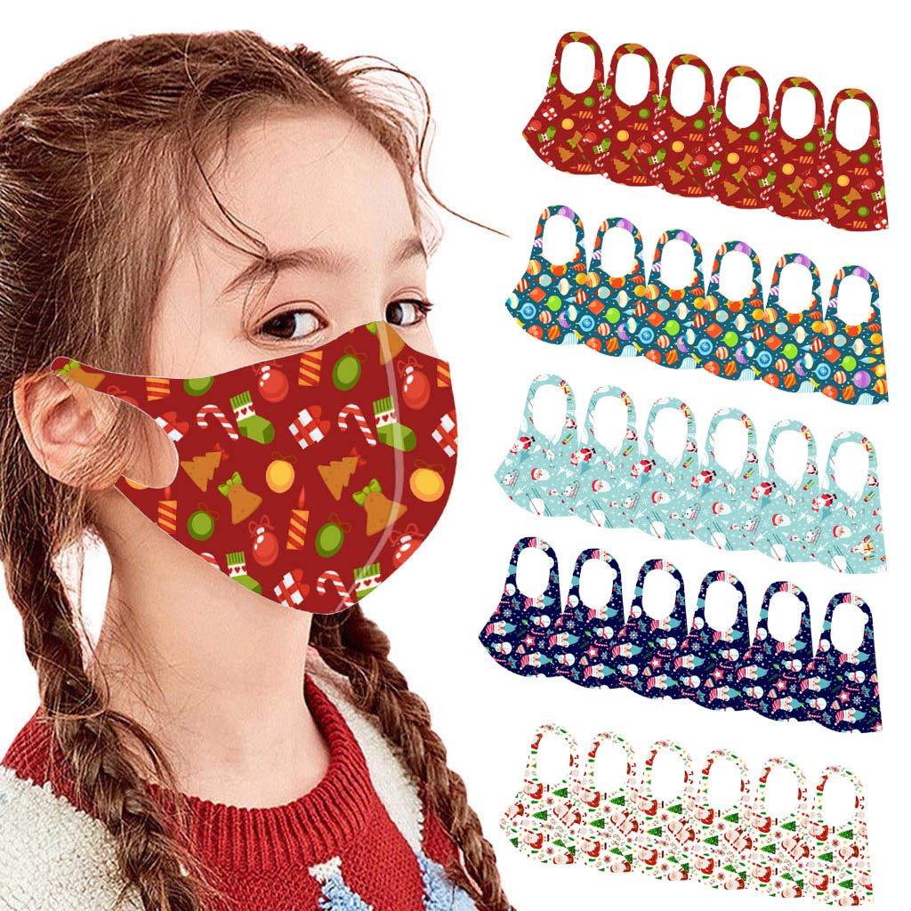 OMGYST 30pcs Children Kids Cotton Fabric Fashion Christmas Print Kids_Face_Mask_Reusable Washable Stretch Lightweight Earloop Fashionable Mouth Bandanas