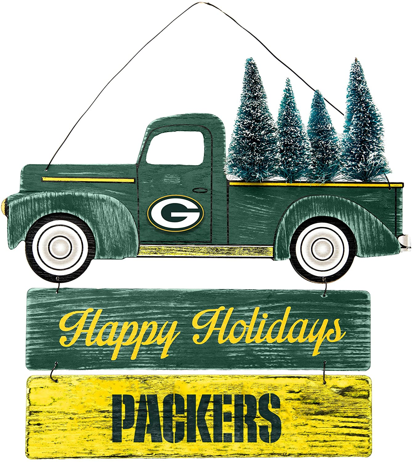 FOCO NFL Wooden Truck with Tree Holiday Wall Sign