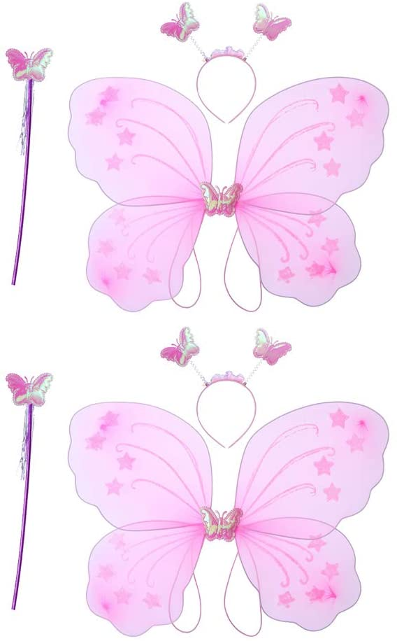 Amosfun 6 Pcs Kids Costume Butterfly Wings with Fairy Magic Wand for Party Dress up Costume (Pink)