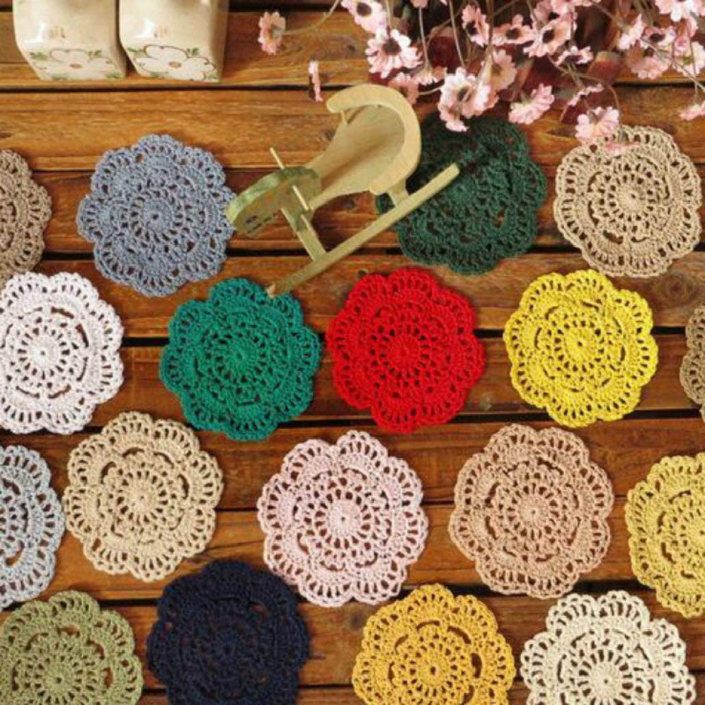 LUCACO 10pcs Hand Crochet Doilies 4 inches Round Vintage Wedding Tea Party